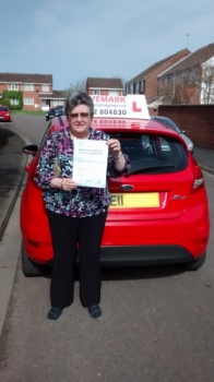 Congratulations Sue. Passed your test first time today. Told you that you would get there even though you thought you never would. Its been a pleasure to teach you. DriveSafe!........................................................... 